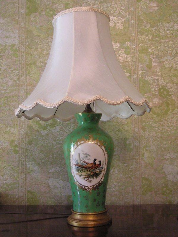 1009: Floral Porcelain Lamp with Pheasant Motif