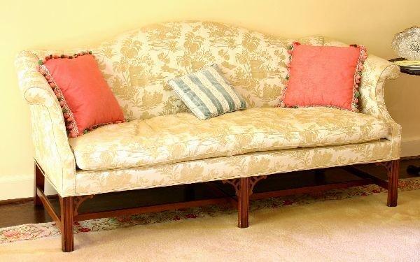 1010: Chippendale Camel Back Sofa