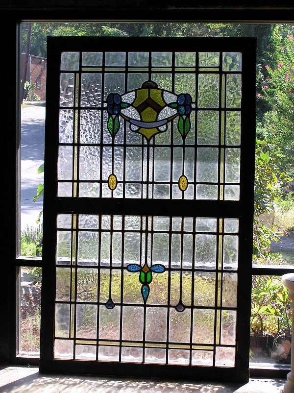 22: Large English Leaded Glass Window
