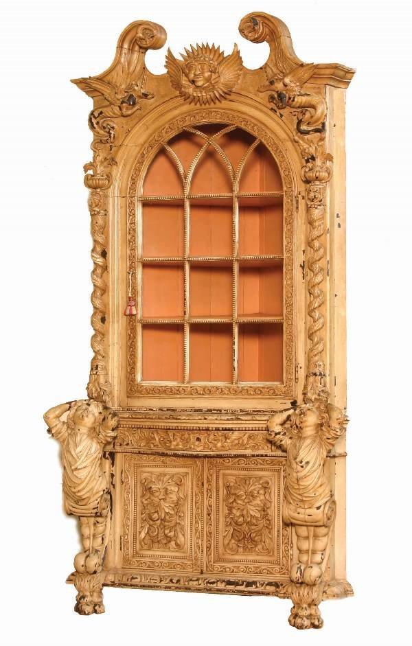 24: Highly Carved Italian Corner Cabinet
