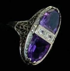 18K Diamond & Amethyst Ring 337-018
