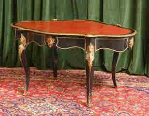 French Leather Top Table with Bronze Accents 455-8