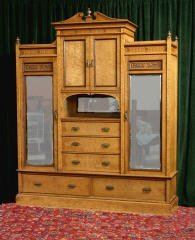 22: Birdseye Maple & Satinwood Wardrobe 460-47