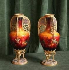 77: Pr. Enameled Filigree Vases 204-149