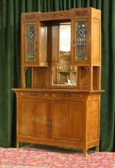 Mirrored Back Cabinet with Art Glass Doors 470-91