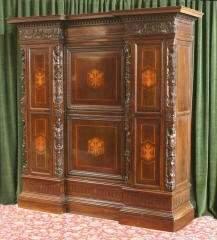 Large Italian Inlaid & Carved Wardrobe 470-11