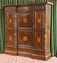 1019: Large Italian Inlaid & Carved Wardrobe 470-11