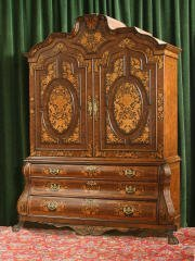 1022: Dutch Marquetry Bombe Linen Press 465-51