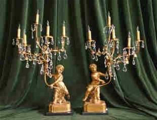 Pr. Gilt Cherub Lamps 452-7