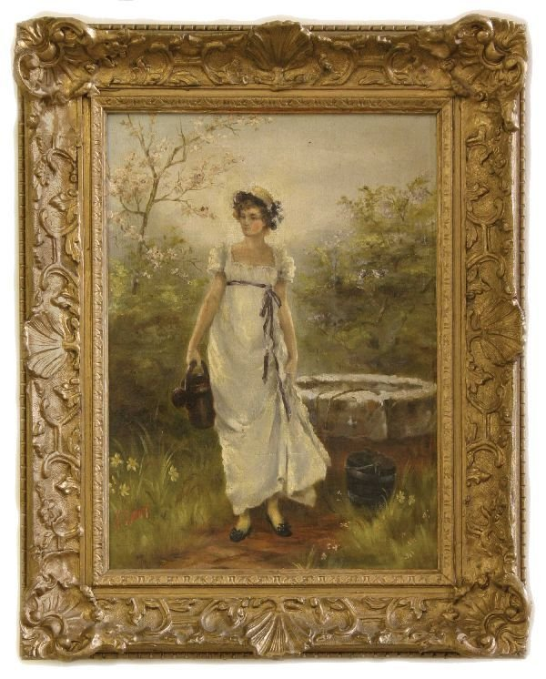 15: Oil on Canvas of a Lady in a Garden
