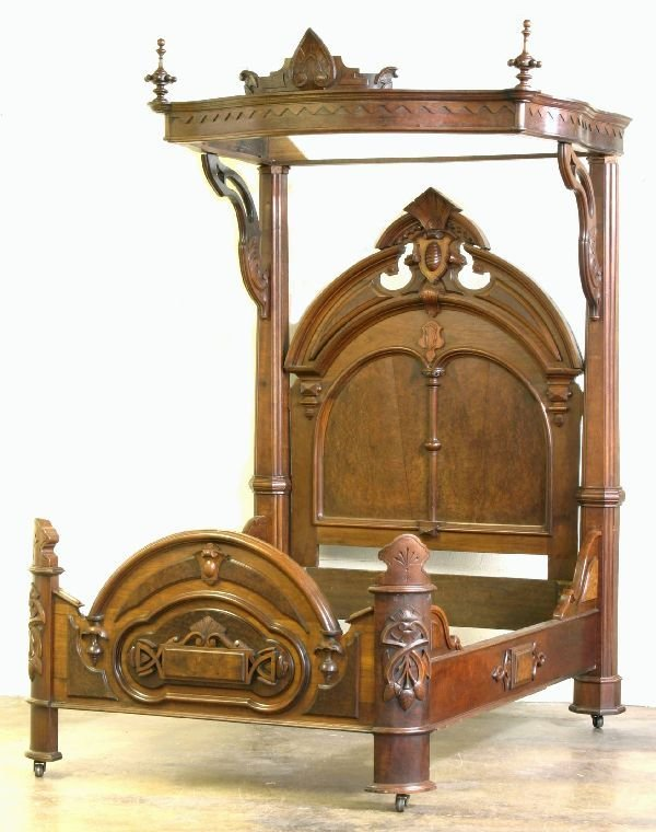 108: Victorian Walnut Half Tester Bed