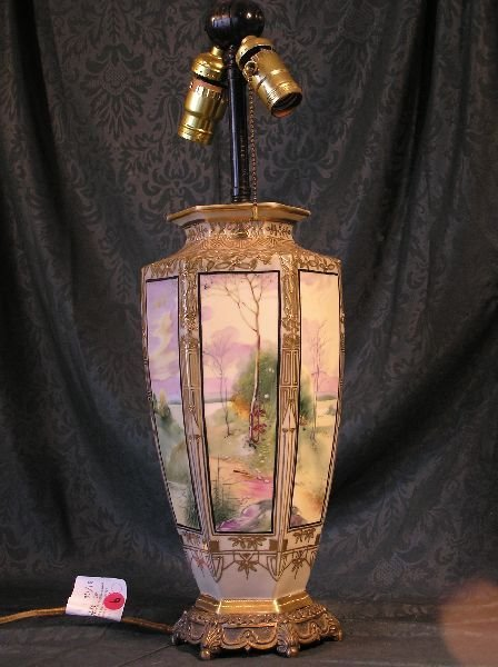 9: Hand Painted Nippon Sceneic Lamp