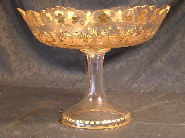 19: Cut Glass Centerpiece with Gilt Floral Design