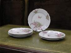 1002 Set of 6 Pink and White Limoge Plates 223