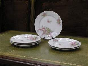 1002: Set of 6 Pink and White Limoge Plates #223