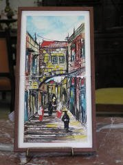1005: Artist Signed Painted Tile #221