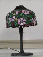 1006: Leaded Glass Lamp Cherry Blossom Design #212