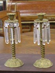 1007: Pr. Bronze & Glass Candleholders #217