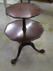 1012: 2 Tiered Mahogany Table #107