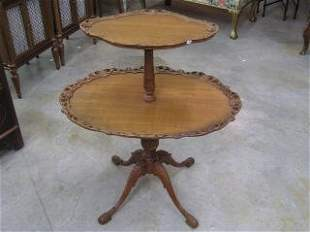1014: Two Tiered Table with Carved Edges #108