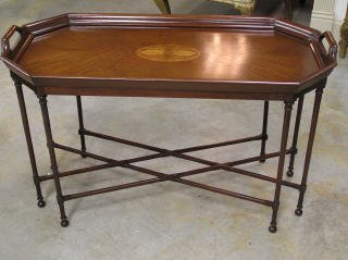 1021: Tray Top Style Inlaid Coffee Table #91