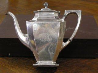 1022: Sterling Silver Monogramed Tea Pot #529