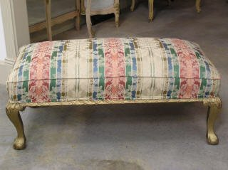 1023: Gilt Upholstered Claw -Foot Stool #168