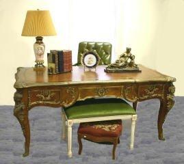 1076: Leather Top Desk with Bronze Cherub Mounts #176