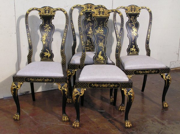 2: Set of 4 Chinoiserie Decorated Chairs
