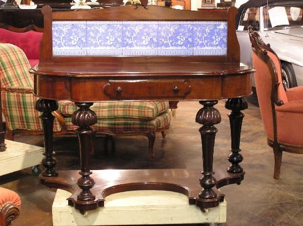 18: Mahogany Dressing Table with Minton Tiles