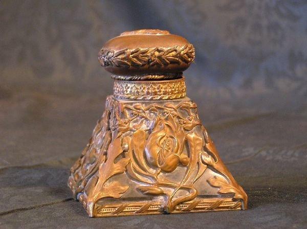21: Bronze Overlay Crystal Inkwell