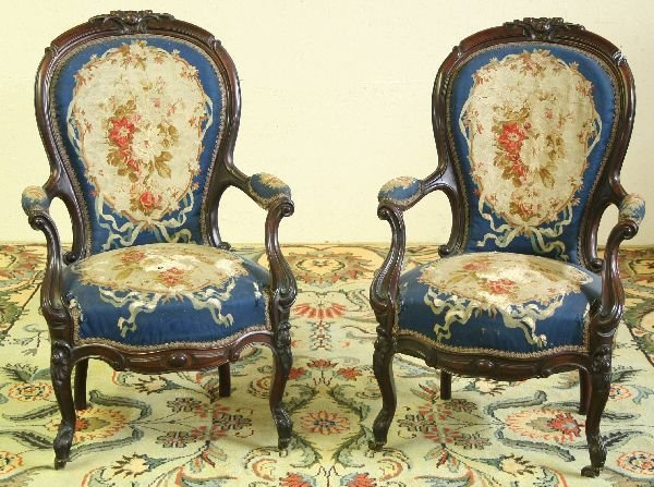 24: Pair of Tapestry Rosewood Rococo Parlor Chairs