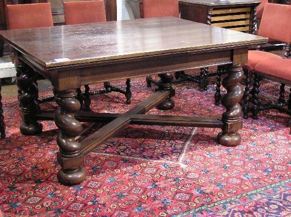 28: Large Oak Barley Twist Refractory Table