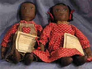 Pair of Hand-painted Folk Art Dolls by Sue Johnso