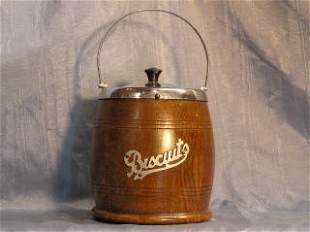 English Wooden Biscuit Barrel Porcelain Lined