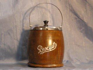 2011: English Wooden Biscuit Barrel Porcelain Lined