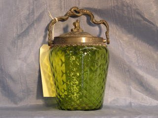 2013: Green Glass Biscuit Barrel with Ornate Handle