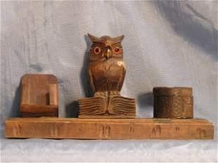 Carved Wood Owl Desk Set