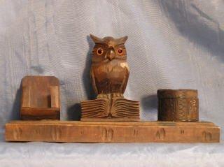 2019: Carved Wood Owl Desk Set