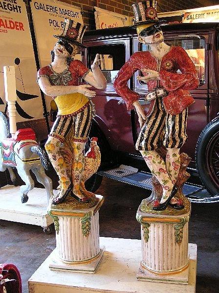 8: Pair of Terra Cotta Harlequin Figures on Pedestals