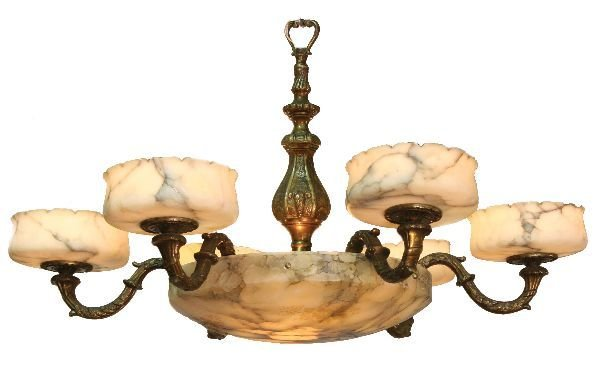9: Alabaster and Bronze Chandelier
