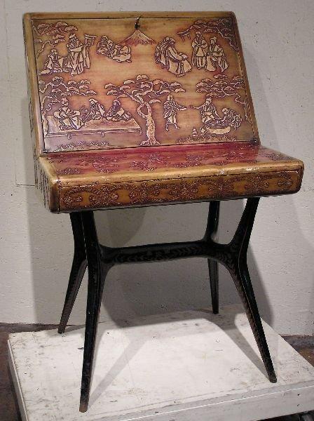 18: Carved Oriental Artist Desk