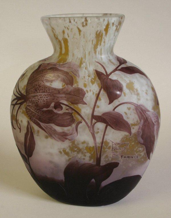 103: Daum Nancy Tiger Lily Vase