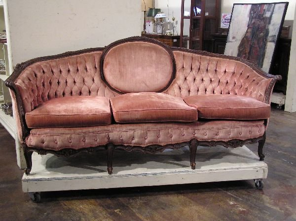 4: French Sofa with Carved Frame