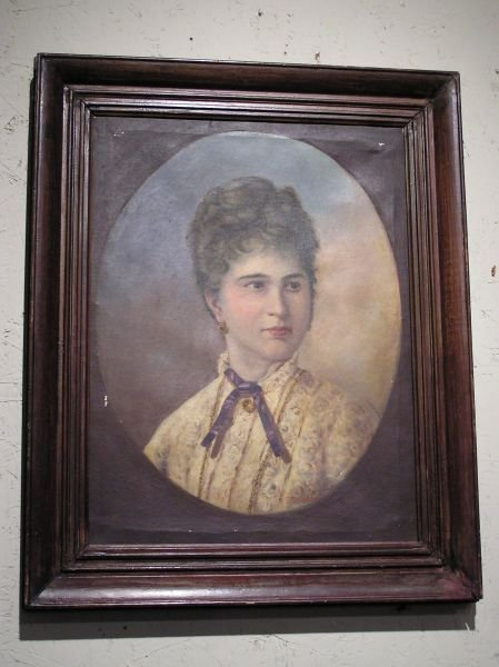 5: Signed Oil on Canvas of a Lady in a Victorian Dress