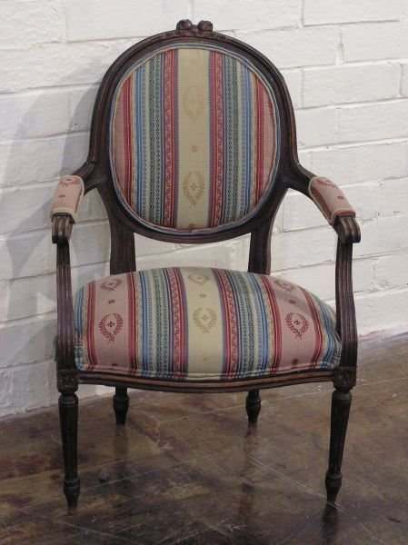 12: French Floral Medallion Back Arm Chair