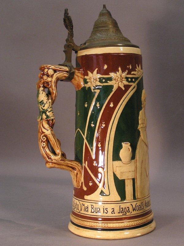 13: German Beer Stein with Figural Scene