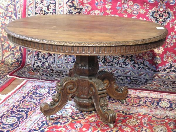 18: Highly Carved French Oak Oval Table