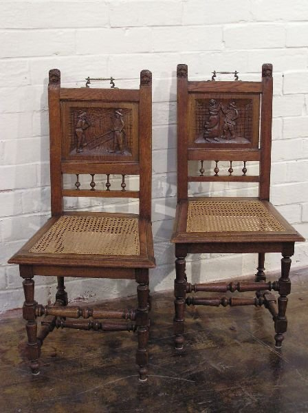 20: Set of 4 Oak Cane Seat Chairs with Figural Scenes