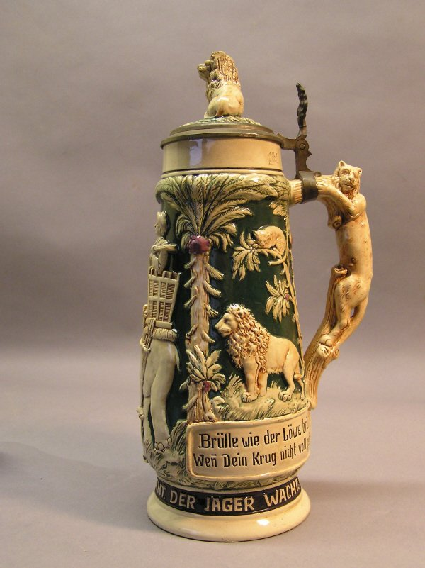 23: German Beer Stein with Animal Scenes